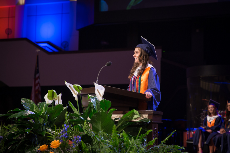 Salutatorian speaking at podium
