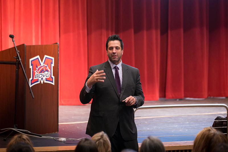 George Couros speaking in front of the audience