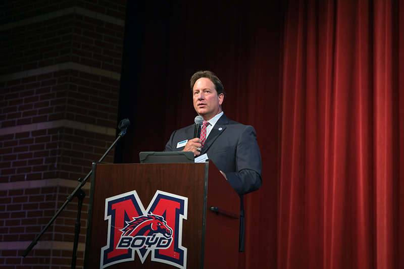 MISD Supt. Dr. Rick McDaniel speaks at the podium