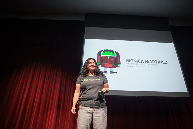 Monica Martinez onstage speaking