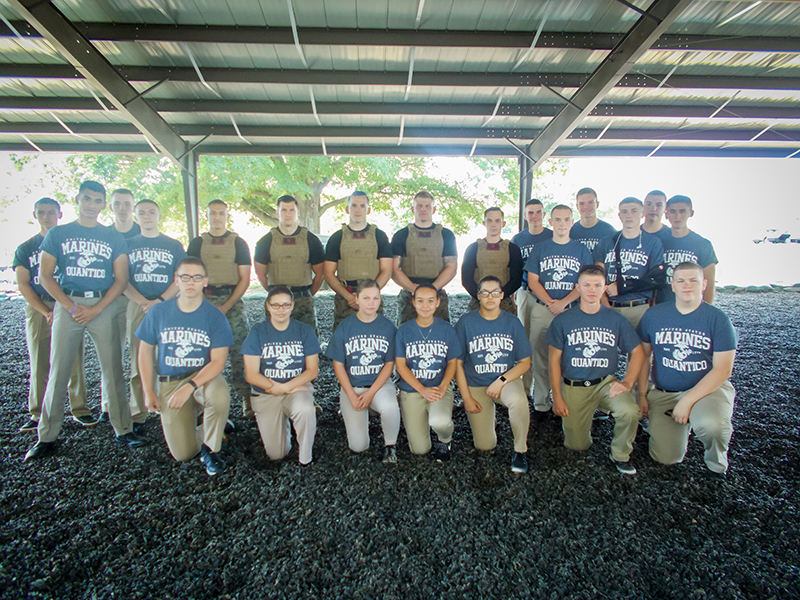 Group shot of cadets and Marines