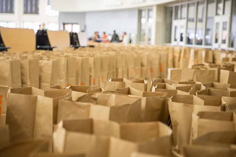 Rows upon rows of paper bags lined up to be filled