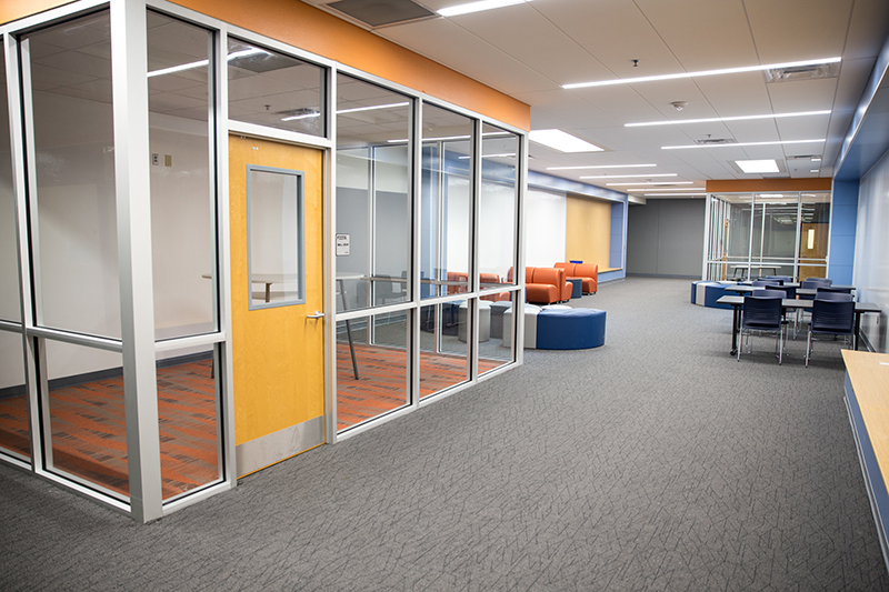 Shot of learning space in carpeted corridor