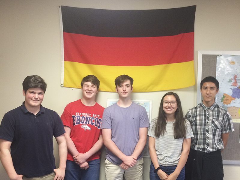 Students in classroom in front of German flag