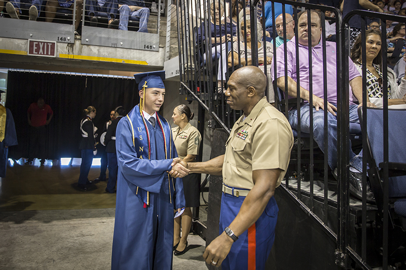 JROTC Instructor shaking hands with student