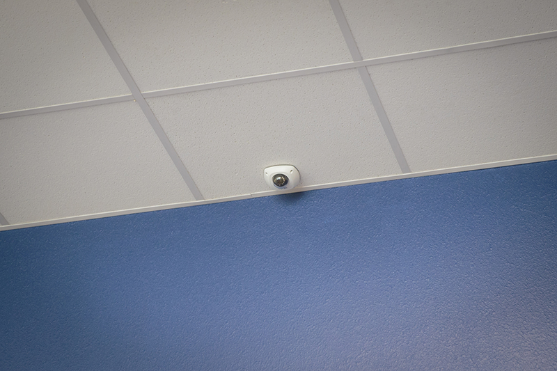 view of overhead security camera