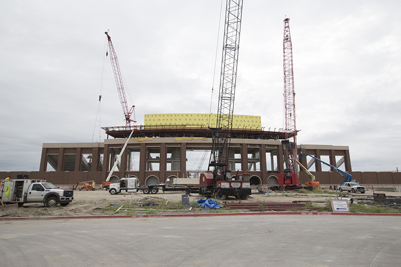 front view of stadium under construction