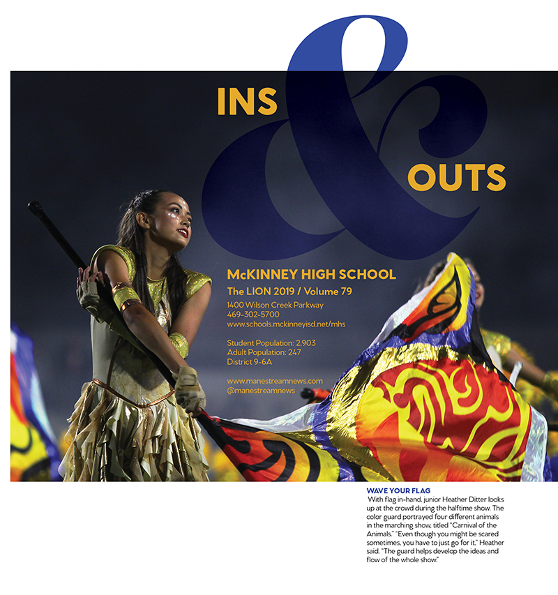 title spread with girl twirling flag