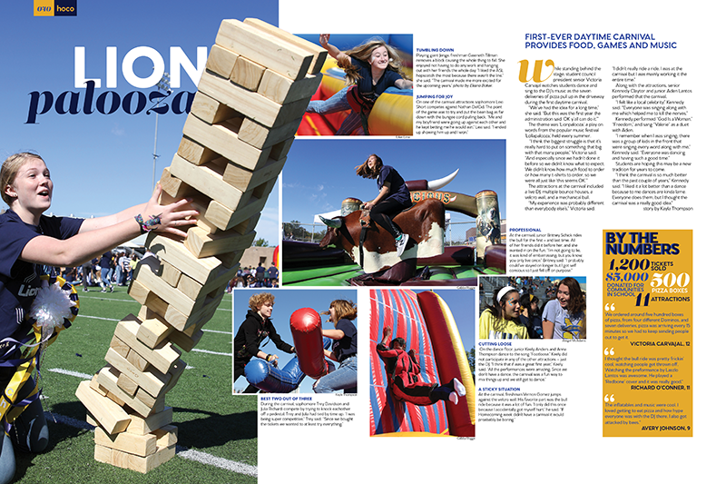 yearbook spread featuring students enjoying games and activities