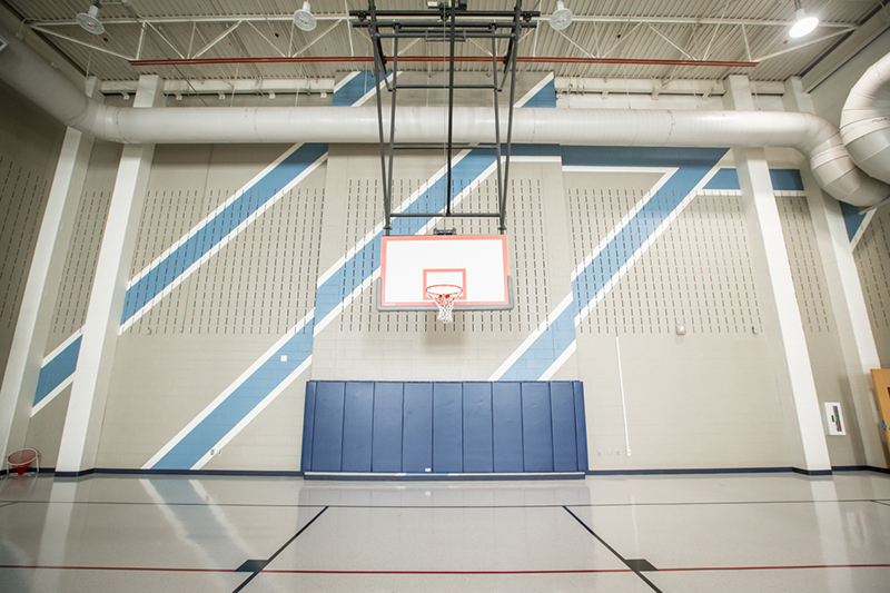 view of new paint design behind basketball goal