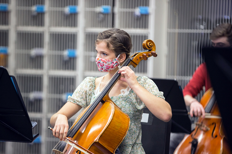 playing cello in class