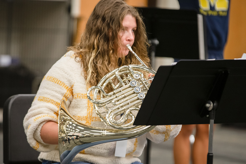 playing horn in class