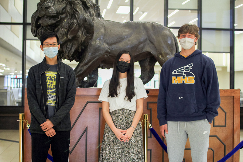 in front of lion statue at MHS