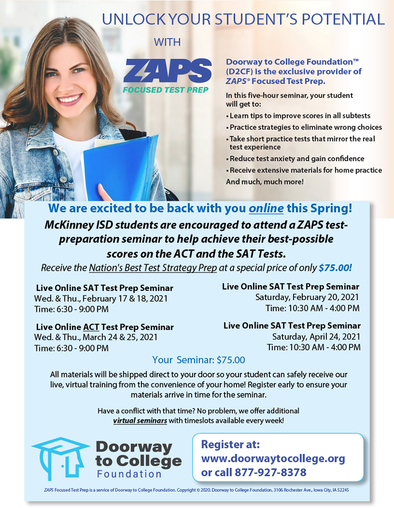 ZAPS brochure with dates listed in article