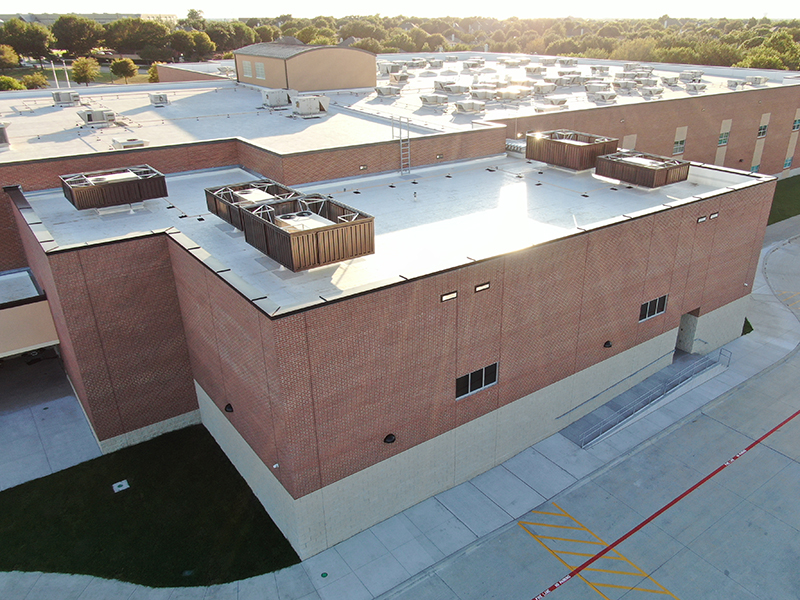 overhead view of HVAC units on roof of MISD school