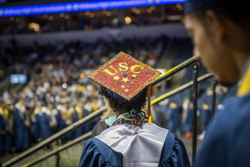 mortar board decorated with USC