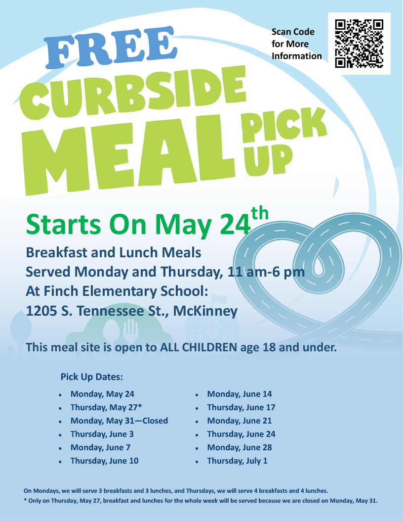 poster with meal pick up information