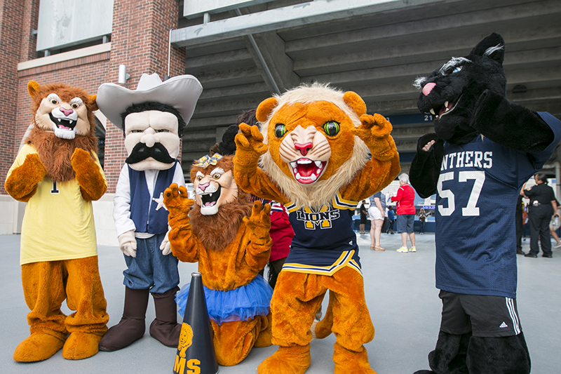 middle school mascots in a group